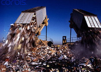 Dumping garbage at landfill